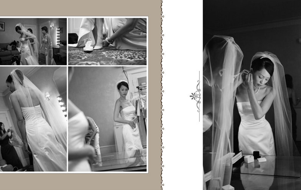 here are more examples of complete wedding album designs utilizing various design styles and enhancements